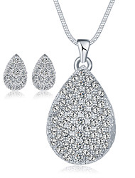 Crystal AAA Cubic Zirconia Crystal Cubic Zirconia Alloy 1 Necklace 1 Pair of Earrings For Wedding Party Special Occasion Daily Casual 1set