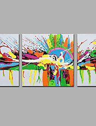 Modern Abstract  Hand-painted  The East Is Red Canvas Painting Three Panels Ready to Hang  Canvas Oil Painting For Home Decoration