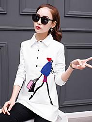 cheap -Long-sleeved white shirt female Korean Fan loose wild 2017 spring Korean long paragraph shirt