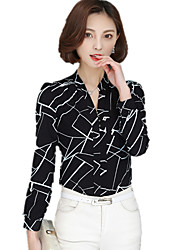 cheap -Women's Formal Work Plus Size Casual Spring Fall Blouse,Geometric V Neck Long Sleeves Polyester Spandex Thin