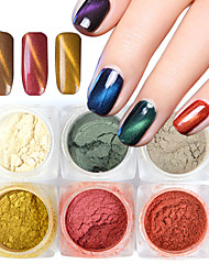 1 Set 6 Bottle Colorful New Mirror Shiny Effect New 3D Nail Art Decoration Cat Eye Magic Glitter Powder Nail Pigment For UV Gel