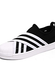 preiswerte -Mode Turnschuhe Männer Casual yeezy Schuhe Komfort Tüll Sportschuhe flache Ferse Spitzen-up schwarz / weiß