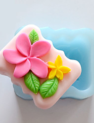 cheap -Two Flowers Shape Soap Mold DIY Silicone Soap Mold Handmade Soap Salt Carved DIY Silicone Food Grade Silicone Mold