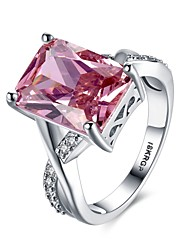 preiswerte -Ringe Besondere Anlässe Alltag Normal Schmuck Krystall Zirkon Kupfer versilbert Ring Verlobungsring 1 Stück,6 7 8 9 Silber