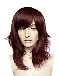 cheap -Capless Top Quality Auburn Wig Medium Long Synthetic Fiber Hairstyle Side Part Bangs
