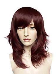 abordables -Femme Perruque Synthétique Bouclé Auburn foncé Partie latérale Avec Frange Perruque Naturelle Perruque Déguisement