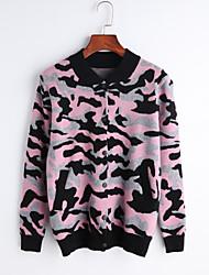 Damer Simpel I-byen-tøj Afslappet/Hverdag Fest/cocktail Normal Pullover camouflage,Høj krave Langærmet Uld Efterår Medium Mikroelastisk