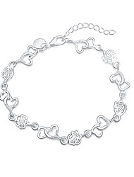 cheap -Women's Charm Bracelet Love Fashion Silver Plated Roses Flower Heart Jewelry Gift Costume Jewelry Silver