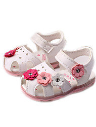 Girls' Baby Sandals Comfort PU Spring Summer Fall Casual Outdoor Comfort Applique Flat Heel White Blue Blushing Pink Flat