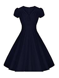 Gaine Robe Femme Habillées Soirée / Cocktail Vacances Vintage Chic de Rue,Couleur Pleine Col en V Mi-long Manches Courtes Bleu Rouge Noir