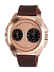 Men's Dress Watch Fashion Watch Water Resistant / Water Proof Large Dial Quartz Genuine Leather Rose Gold Plated Band Cool Casual Gold
