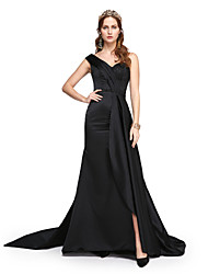 cheap -A-Line One Shoulder Sweep / Brush Train Satin Formal Evening Dress with Beading / Pleats by TS Couture®