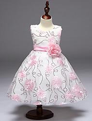 Princess Knee Length Flower Girl Dress - Cotton Chiffon Sleeveless Jewel Neck with Applique