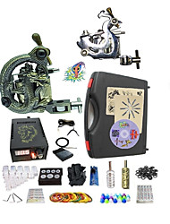 cheap -Starter Tattoo Kit 1 steel machine liner & shader 1 alloy machine liner & shader Tattoo Machine LED power supply Tattoo Ink 2 x aluminum