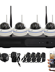 YanSe® 1.0MP PNP Wireless Dome NVR Kit IR Night Vision Security 15led WIFI IP Camera CCTV System (4pcs wifi Camera/HDMI/720P)