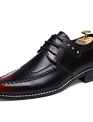 cheap -Men's Oxfords Spring Fall Comfort PU Casual Low Heel Lace-up Gold Black