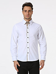 Men's Casual/Daily Formal Holiday Simple Shirt,Solid Shirt Collar Long Sleeve Red White Beige Black Cotton