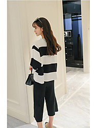 Sign new Korean fashion suit female sweater jacket wide leg pants piece fitted pantyhose
