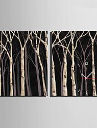 Modern/Zeitgenössisch Anderen Wanduhr,Rechteckig Leinwand35X50cm(14inchx20inch)x2pcs/ 40 x 60cm(16inchx24inch)x2pcs/ 50 x