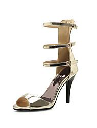 Feminino-Sandálias-Conforto Gladiador Sapatos clube-Salto Agulha-Dourado Roxo Cinzento Escuro-Materiais Customizados-Casamento Casual