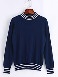 cheap -Women's Casual/Daily Simple Short Pullover,Striped Round Neck Long Sleeves Acrylic Winter Fall Medium Micro-elastic