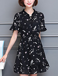 Women's Plus Size Going out Simple A Line Dress,Print Asymmetrical Above Knee Short Sleeve Blue Polyester Spring Summer Mid Rise Inelastic
