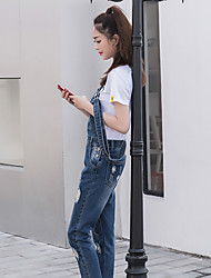 Sign new non Dan large zipper pocket washed denim trousers female simple hand-cut