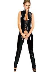 Недорогие -Женский Ультра-секси Комбинация Ночное белье Однотонный-Средняя Лакированная кожа Черный