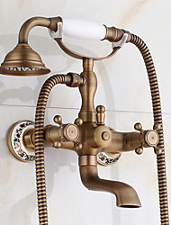 cheap -Antique Traditional Centerset Handshower Included Ceramic Valve Two Holes Two Handles Two Holes Antique Copper , Bathtub Faucet