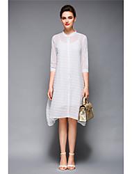 Linea A Vestito Da donna-Per uscire Formali Spiaggia Sensuale Boho Moda città A strisce Rotonda Asimmetrico Mezze maniche Bianco Viola