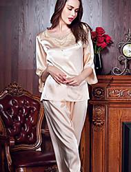 economico -la seta delle donne& pigiama santin confortevole, set due pezzi beige rosa