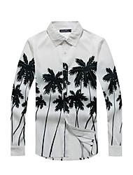 Men's Casual/Daily Beach Holiday Simple Boho All Seasons Shirt,Print Shirt Collar Long Sleeve White Yellow Cotton Rayon Thin