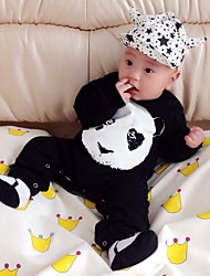 cheap -Baby Unisex Daily Holiday Patchwork One-Pieces, Cotton Spring Fall All Seasons Cartoon Long Sleeves Black