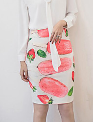 cheap -Women's Daily Work Above Knee Skirts,Vintage Sexy Bodycon Cotton Print Spring Summer