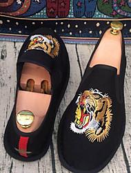 preiswerte -Herren Loafers & Slip-Ons paar Schuhe PU Frühling Normal paar Schuhe Elastisch Flacher Absatz Schwarz Flach
