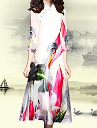 Недорогие -Для женщин На каждый день Вечеринка/коктейль Большие размеры Винтаж Простое Шинуазери (китайский стиль) Прямое Платье В клетку,Вырез под