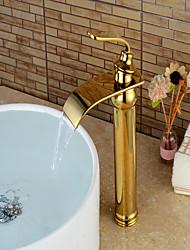 abordables -Moderne Set de centre Jet pluie Soupape céramique Mitigeur un trou Ti-PVD, Robinet lavabo