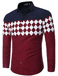 abordables -Chemise Grandes Tailles Homme, Géométrique - Coton Imprimé Col Classique