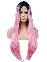 cheap -Synthetic Lace Front Wig Straight Natural Hairline Pink Women's Lace Front Natural Wigs Long Synthetic Hair