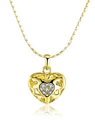 Femme Pendentif de collier Colliers chaînes Zircon cubique Forme de Coeur Zircon Plaqué or 18K or Alliage Basique Original Pendant Amour
