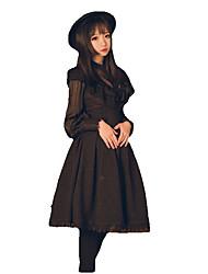 Skirt Cosplay Lolita Dress Black White Solid Long Sleeve Knee-length For Terylene
