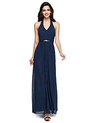 cheap -Sheath / Column Halter Floor Length Chiffon Bridesmaid Dress with Beading Draping Sash / Ribbon by LAN TING BRIDE®