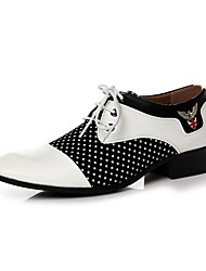 Men's Oxfords Comfort Spring Summer Fall Winter Leather Walking Shoes Casual Office & Career Lace-up Low Heel White Under 1in