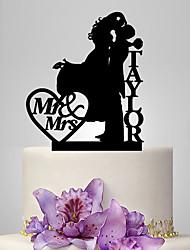 Decorazioni torte Personalizzato Coppiaclassica Acrilico Matrimonio Anniversario Rosso Oro Argentato Nero Classico OPP