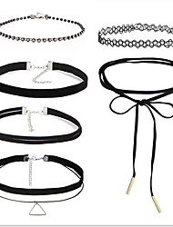 Choker Necklaces Rhinestone AAA Cubic Zirconia Round Bowknot Lace Flannelette Fabric Alloy Basic Unique Design Tattoo Style Sexy Handmade