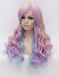 cheap -European and American Popular Wig Pink Gradient Mixed Color Long Curly Wig 26inch 26inch