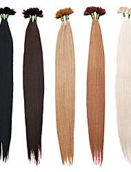 baratos -Queratina / Ponta U Extensões de cabelo humano Liso Cabelo Humano médio Auburn Loiro Marrom Médio