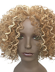 cheap -Capless Wig Short Hairstyle Kinky Curly Synthetic Fiber Heat Resistant Wig Blonde Wig