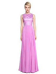 cheap -A-Line Princess Bateau Neck Floor Length Chiffon Lace Bridesmaid Dress with Pleats by LAN TING BRIDE®