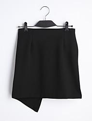 Röcke,Stifte einfarbigLässig/Alltäglich Einfach Tiefe Hüfthöhe Mini Elastizität Baumwolle Polyester Micro-elastisch Riemengurte Sommer